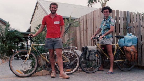 Me with Tim, another MTB'er, same bike! Cooktown, 1988 Solo MTB Tour
