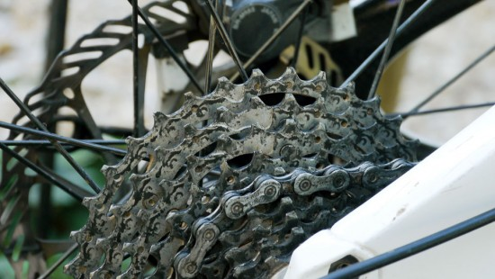 Cassette and chain, not bad for +3 months without any cleaning