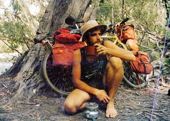 Cuppa after wading across Jardine River, Solo MTB Tour 1988